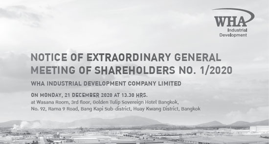 Notice of Extraordinary General Meeting of Shareholders No. 1/2020